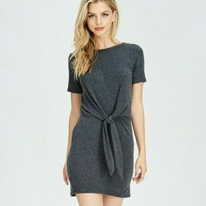 Tie front French terry dress ( COMING )